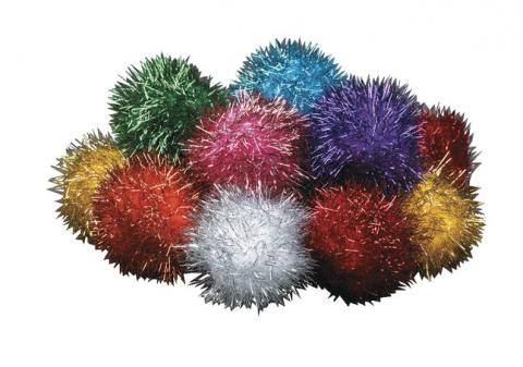 Creativity Street Glitter Pom, 1/2 in, Assorted Color, Pack of 80